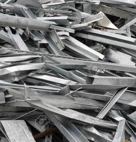 Scrap of zinc-plated sheet metal sections